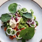 CHOPPED GREEK SALAD WITH NASTURTIUM PESTO