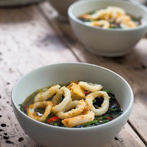 CRISPY SQUID AND SEAWEED SOUP