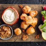 HAM FRITTERS WITH CHEESE FONDUE