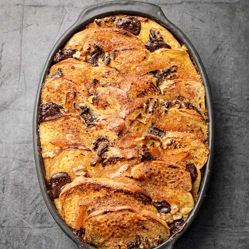 NUTTY BRIOCHE PUDDING WITH CHOCOLATE