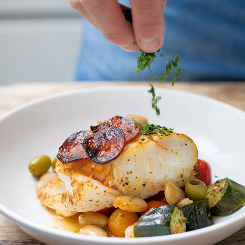 BAKED COD WITH COURGETTES AND CHORIZO