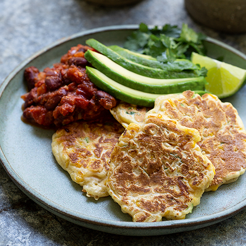 CORN CAKES WITH MEXICAN BEANS