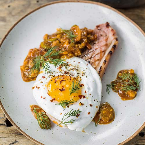 GAMMON STEAKS AND FRIED DUCK EGGS