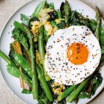 MISO STIR-FRIED GREENS WITH FRIED EGG