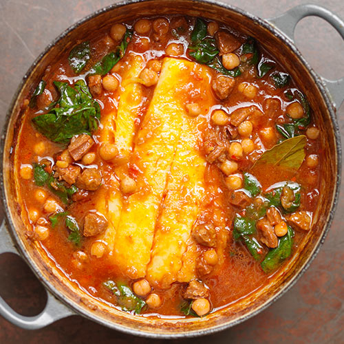 POT-ROASTED POLLOCK, CHICKPEAS AND CHORIZO