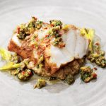 SPICED MONKFISH AND AUBERGINE PURÉE