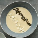 CAULIFLOWER AND CHEDDAR SOUP WITH CAPERS
