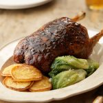 SLOW-ROASTED DUCK WITH  POTATO PANCAKES