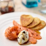 GIN CURED SALMON WITH BUTTERMILK PANCAKES