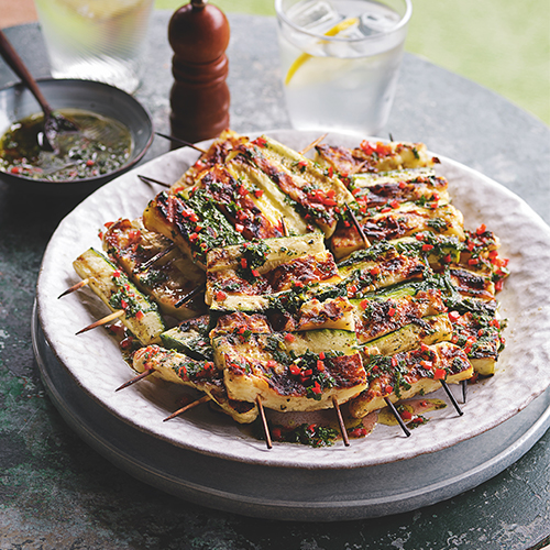 COURGETTE AND HALLOUMI SKEWERS