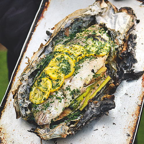 WHOLE FISH BARBECUED IN NEWSPAPER