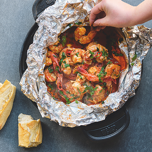 SMOKY PRAWNS COOKED IN FOIL